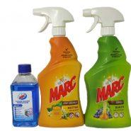 ست اسپری MARCمارک اسپری پاک کننده آشپزخانه 750 میلی لیتر +اسپری پاک کننده حمام و سرویس 750 میلی لیتر +مایع  جرمگیری لباسشویی250 میلی